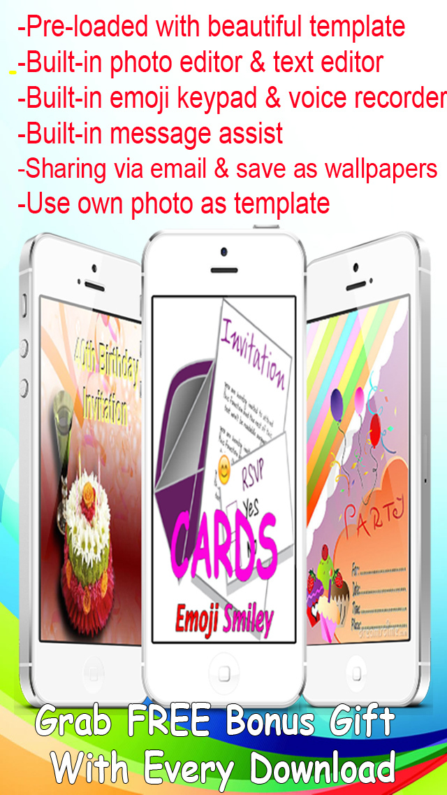 Invitation eCards with Photo Editor.Customize and Send Invitation eCards with Invitation Emoji,Text and Voice Messages screenshot 1