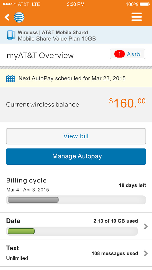 myAT&T screenshot 1