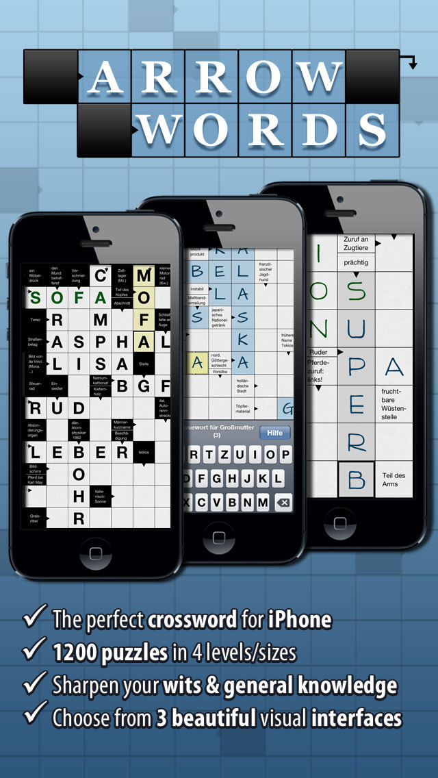 Crosswords: Arrow Words Plus for iPhone. Smart Crossword Puzzles screenshot 1