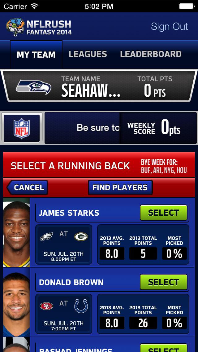 NFLRUSH Fantasy Football screenshot 1