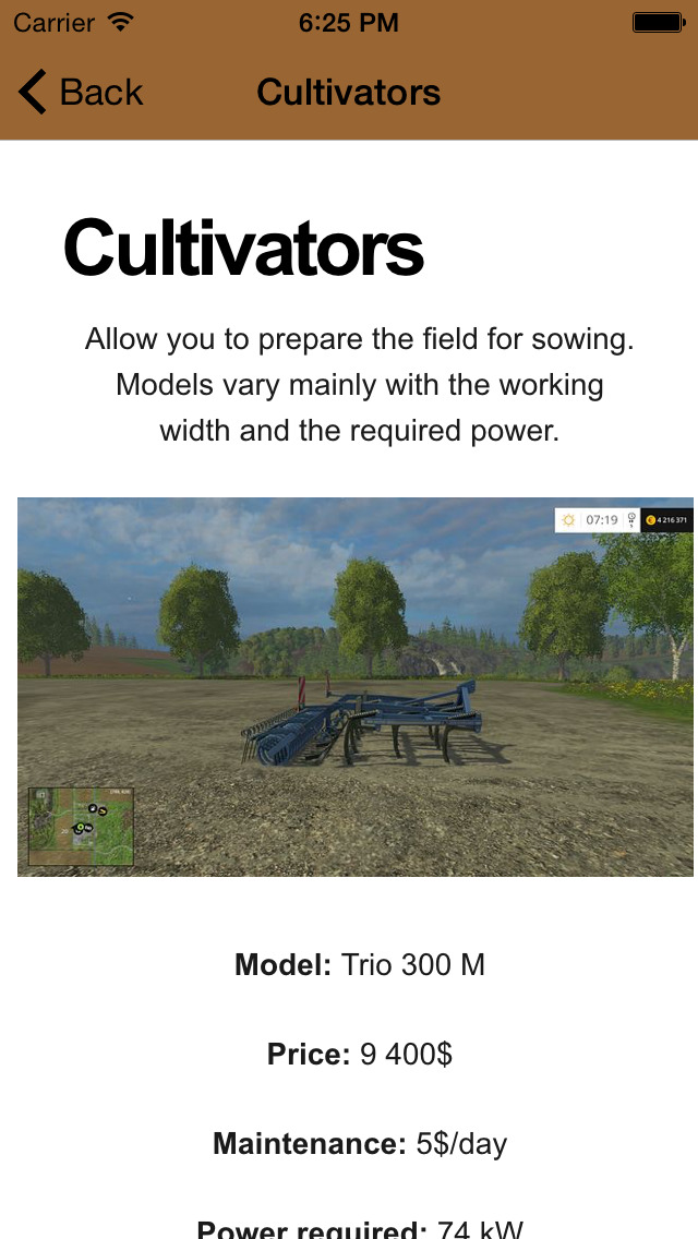 Guide Plus for Farming Simulator 15 screenshot 3