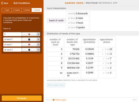Wolfram Gaming Odds Reference App screenshot 7