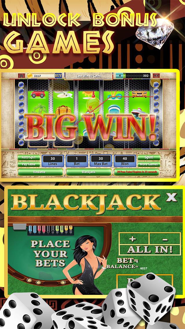 A Africa Slots of Sun 777 (Kalahari Lucky Bonus Wheel Casino Game) Free screenshot 4