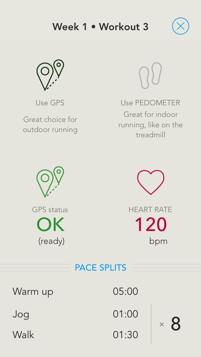 Run 5k (GPS & Pedometer) - Couch to 5k plan screenshot 2