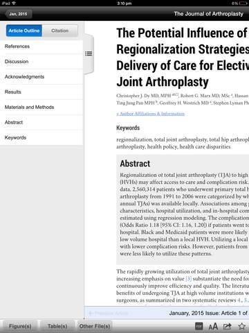 The Journal of Arthroplasty screenshot 7