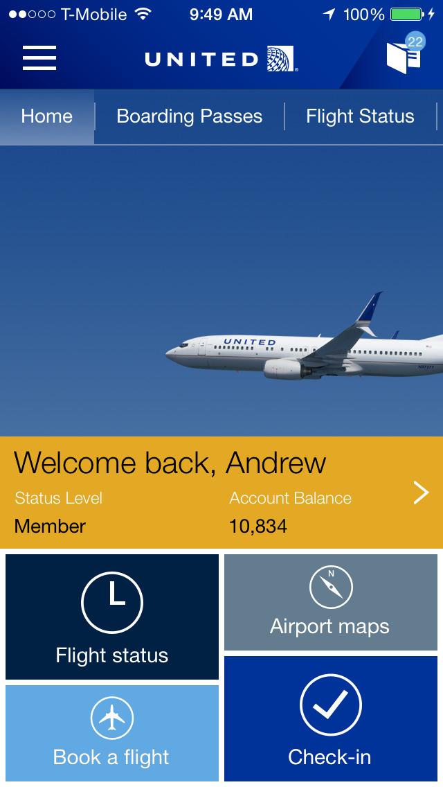United Airlines screenshot 1