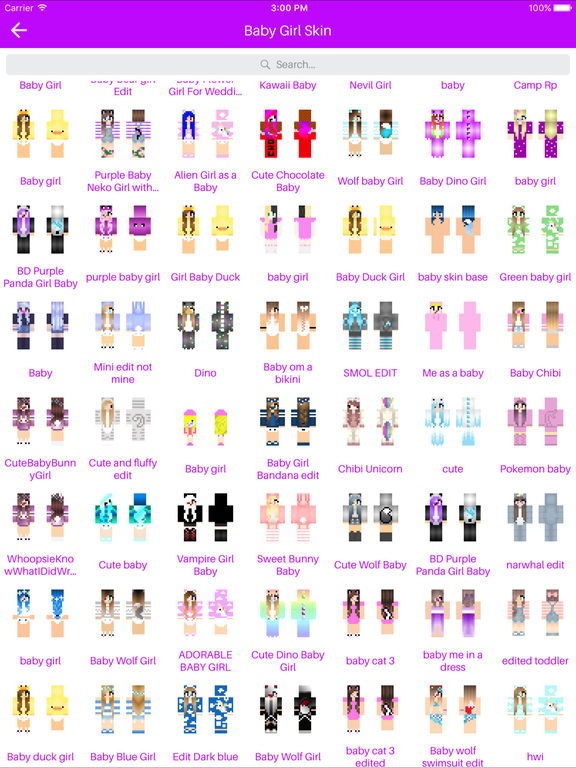 Baby Skins Cute Skins For Minecraft Pe Edition Apps