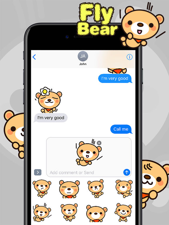 Fly Bear Sticker - Cute & Emotional Stickers screenshot 10