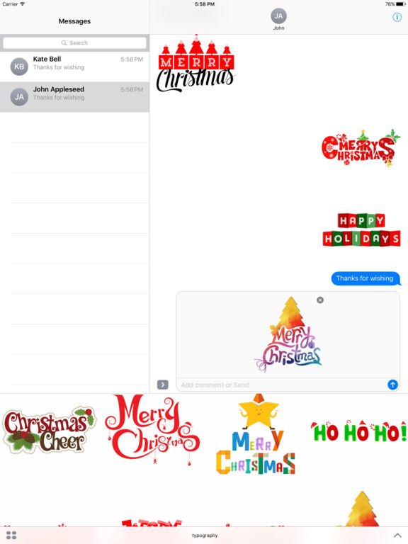 Merry Christmas Wish Typography Stickers screenshot 5