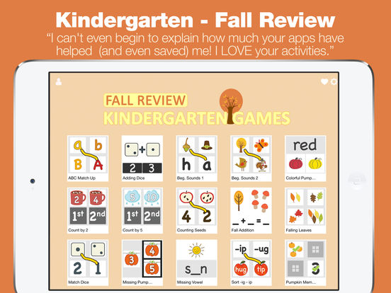 Kindergarten Learning Games - Fall Review App screenshot 6